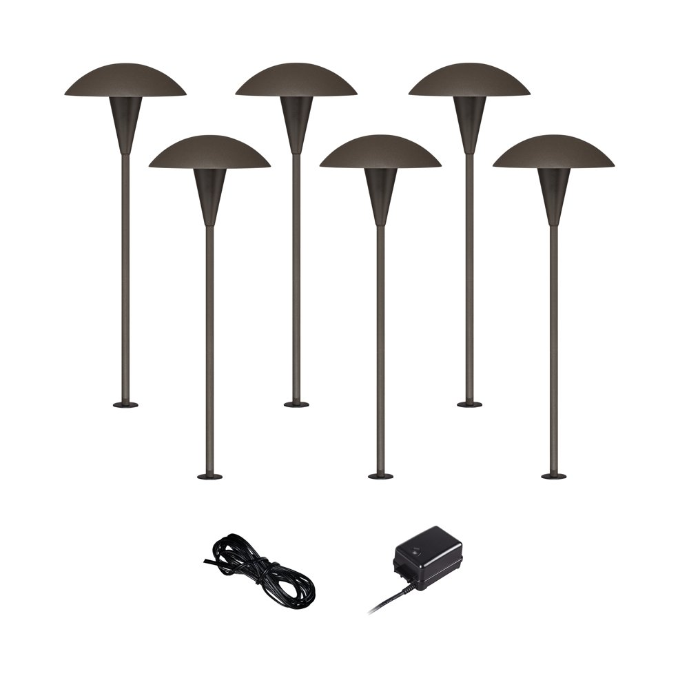 Mushroom 8-Pc Outdoor LED Landscape Lighting Set in Bronze