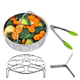 Steamer Basket Set, NUOKEXIN Pressure Cooker Accessories with Egg Steamer Trivet, Dividers and Silicone Kitchen Tongs, Stainless Steel 4 Packs(Fits 5,6,8 qt Pressure Cooker)