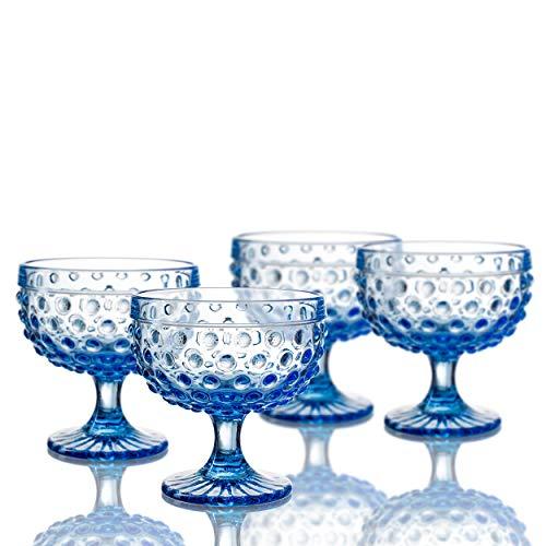 (Elle Decor 229804-4PBBL Bistro Dot Pedestal Bowls, 4.3 x 4.3, Blue )