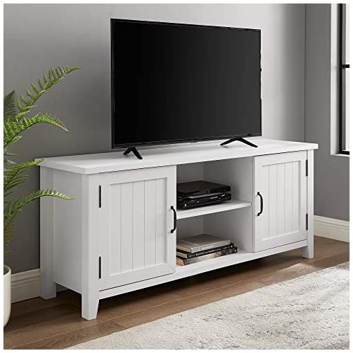 Farmhouse Living Room Furniture Walker Edison Buren Classic Grooved Door TV Stand for TVs up to 65 Inches, 58 Inch, Solid White farmhouse tv stands