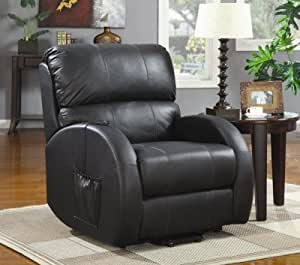 Coaster 600416 Power Lift Recliner With Black Leather Match Upholstery