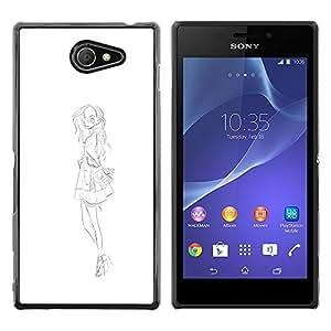 """For Sony Xperia M2 Case , Sketch Vestido Negro Blanco Moda"""" - Diseño Patrón Teléfono Caso Cubierta Case Bumper Duro Protección Case Cover Funda"""