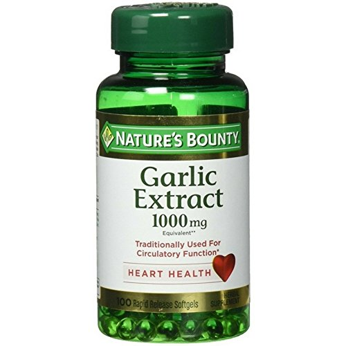 (Nature's Bounty Garlic Pills and Herbal Health Supplement, Supports Circulatory Function, 1000mg, 100 Softgels, 3 Pack)