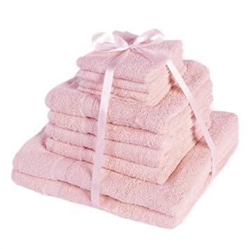 Dreamscene Handtuch Geschenkset   Reine Ägyptische Baumwolle   10 Tlg.    Hellrosa