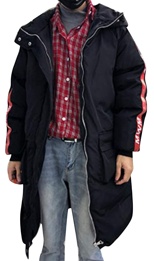 Mstyle Mens Mid Length Zip Up Winter Warm Quilted Bread Hooded Down Coat