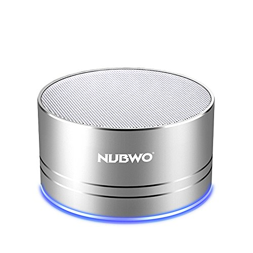 NUBWO Portable Bluetooth Speaker with Mic/Speakerphone,AUX Line,Memory Card Playback Smartphones for Apple/Android Phone (Silver) by NUBWO