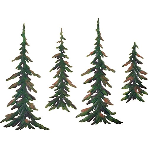 Collections Etc Evergreen Pine Tree Metal Wall Decor Set of 4 (Metal Decors Wall)