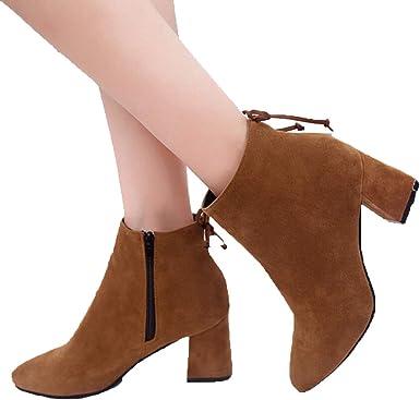 Women Mid Low Block Heel Suede Zipper
