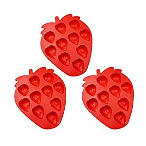 Riverbyland Strawberry Shape Silicone Ice Cube Trays Assorted Colors Set of 3