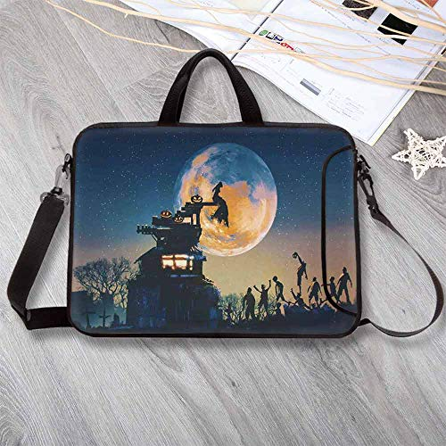 """(Fantasy World Neoprene Laptop Bag,Dead Queen in Castle Zombies in Cemetery Love Affair Bridal Halloween Theme Laptop Bag for Office Worker Students,17.3""""L x 13""""W x)"""