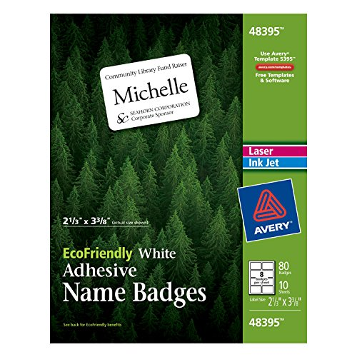 Avery Laser Name Badge (Avery EcoFriendly Name Badge Labels for Laser and Ink Jet Printers, 2.333 x 3.375 Inches, White, Permanent, Pack of 80 (48395))