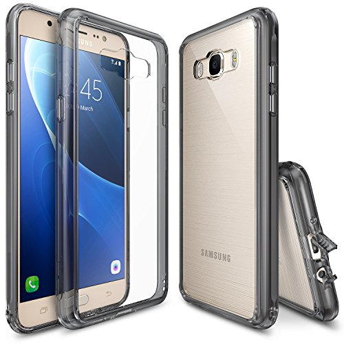 Ringke [Fusion] Compatible with Galaxy J7 Case Shock Absorption TPU Bumper Drop Protection Clear Hard Case for Samsung Galaxy J7 2016 (SM-J710F) - Smoke Black