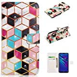for Huawei P30 Lite Wallet Case and Screen Protector,QFFUN Glitter 3D Pattern Design [Cube] Magnetic Stand Leather Phone Case with Card Holder Drop Protection Etui Bumper Flip Cover