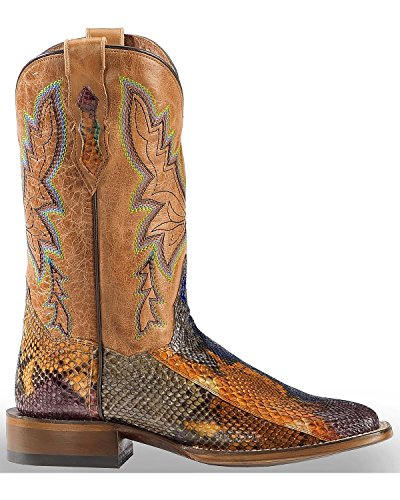 Dan Post Womens Painted Belly Python Stockman Cowgirl Boot Square Toe Multi 8,5 M