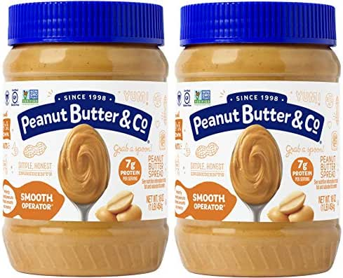 Peanut Butter & Co. Smooth Operator Peanut Butter, Non-GMO Project Verified, Gluten Free, Vegan, 16 oz Jars (Pack of 2)