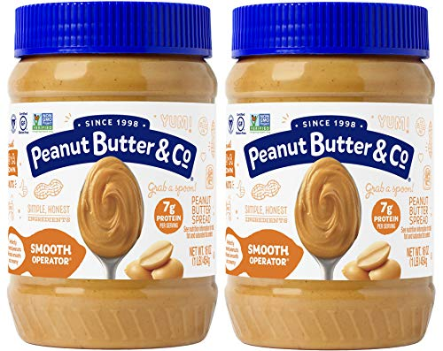 Low Sugar Peanut Butter - Peanut Butter & Co. Smooth Operator Peanut Butter, Non-GMO Project Verified, Gluten Free, Vegan, 16 oz Jars (Pack of 2)