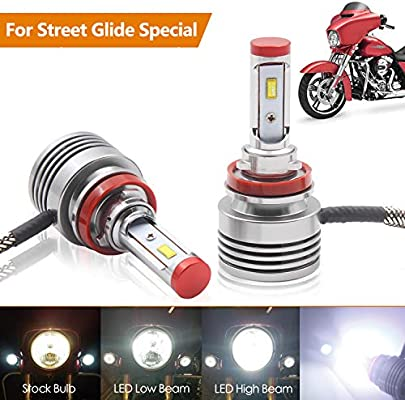 Led Replacement Headlight Bulbs >> 2 Piece Led Headlight Bulbs Replacement For Harley Street Glide Headlight Road King Special Headlamp Or Cvo Special With Dual Bulb High Low Beam Model