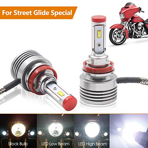 - 2 Piece LED headlight Bulbs Replacement for Harley Street Glide Headlight,Road King Special Headlamp or CVO Special with Dual-bulb High Low Beam Model