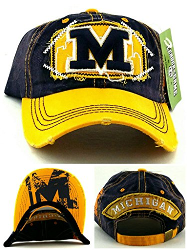 - Leader of the Game Michigan New Women Ladies Top Pro Vintage Wolverines Colors Blue Maize M Era Strapback Hat Cap