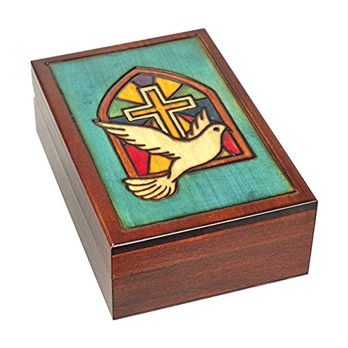 Stained Glass Church Window Cross with Dove Handmade Polish Keepsake Jewelry Box]()