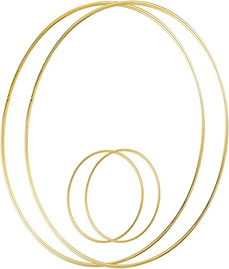Sntieecr 2 Pack 14 Inch Large Metal Floral Hoop Wreath Macrame Gold Hoop Rings for Making Christmas Wedding Wreath Decor Dream Catcher and Macrame Wall Hanging Craft