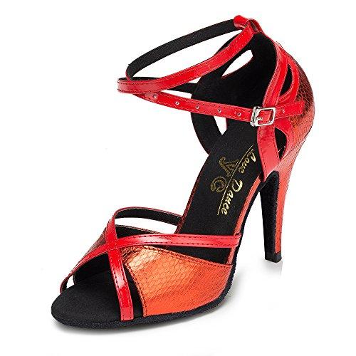 Zapatos De Baile Latino para Mujer Salsa/Tango/Té/Samba/Moderno/Zapatos De Jazz Sandalias Tacones Altos Red7.5cm