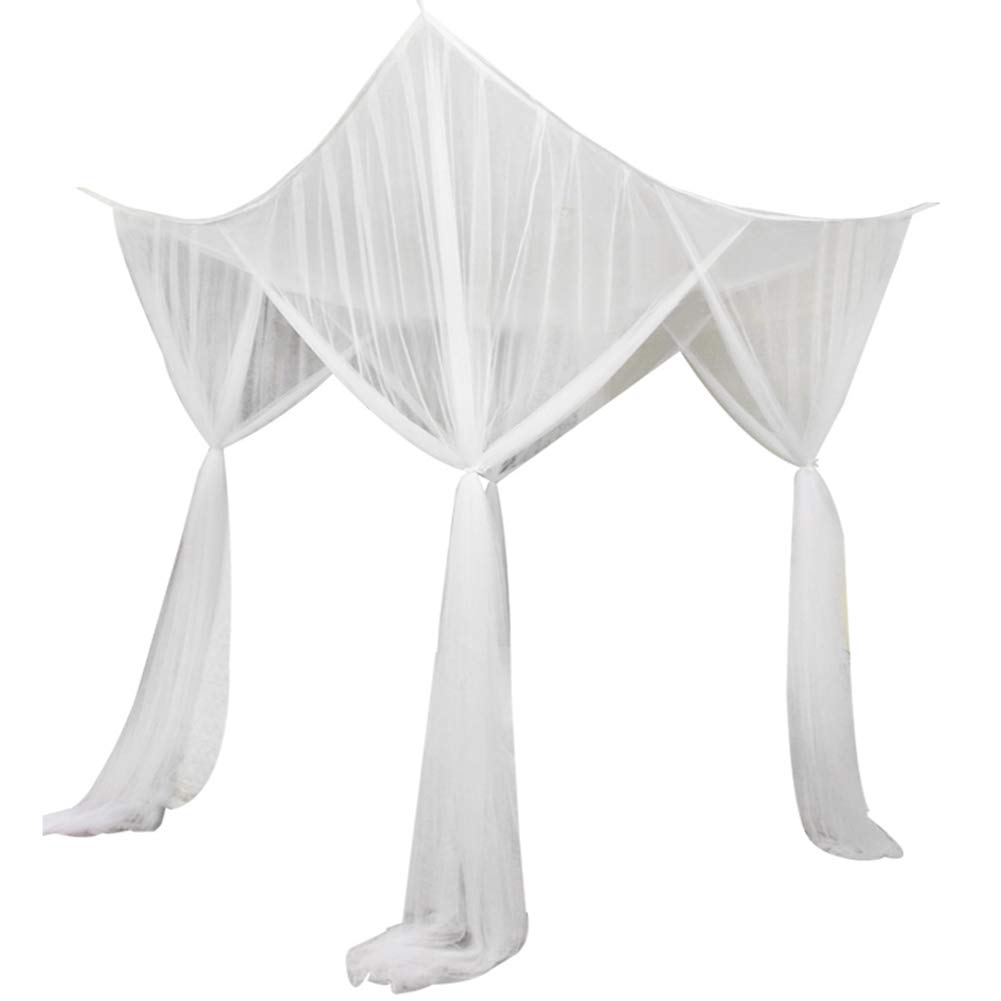 Bed Canopy Netting VKTY Bed Canopy Mosquito Net 4 Corners Post Bed Canopy Summer Romantic Bedroom Decor Bed Canopy Netting Mesh 4-Door Mosquito Net