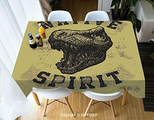 Square tablecloth Hand Drawn Roaring Tyrannosaurus Portrait Native Spirit Jurassic Wild Animal (60 X 84 inch) Great for Buffet Table, Parties, Holiday Dinner, Wedding & More.Desktop decoration.Polyes