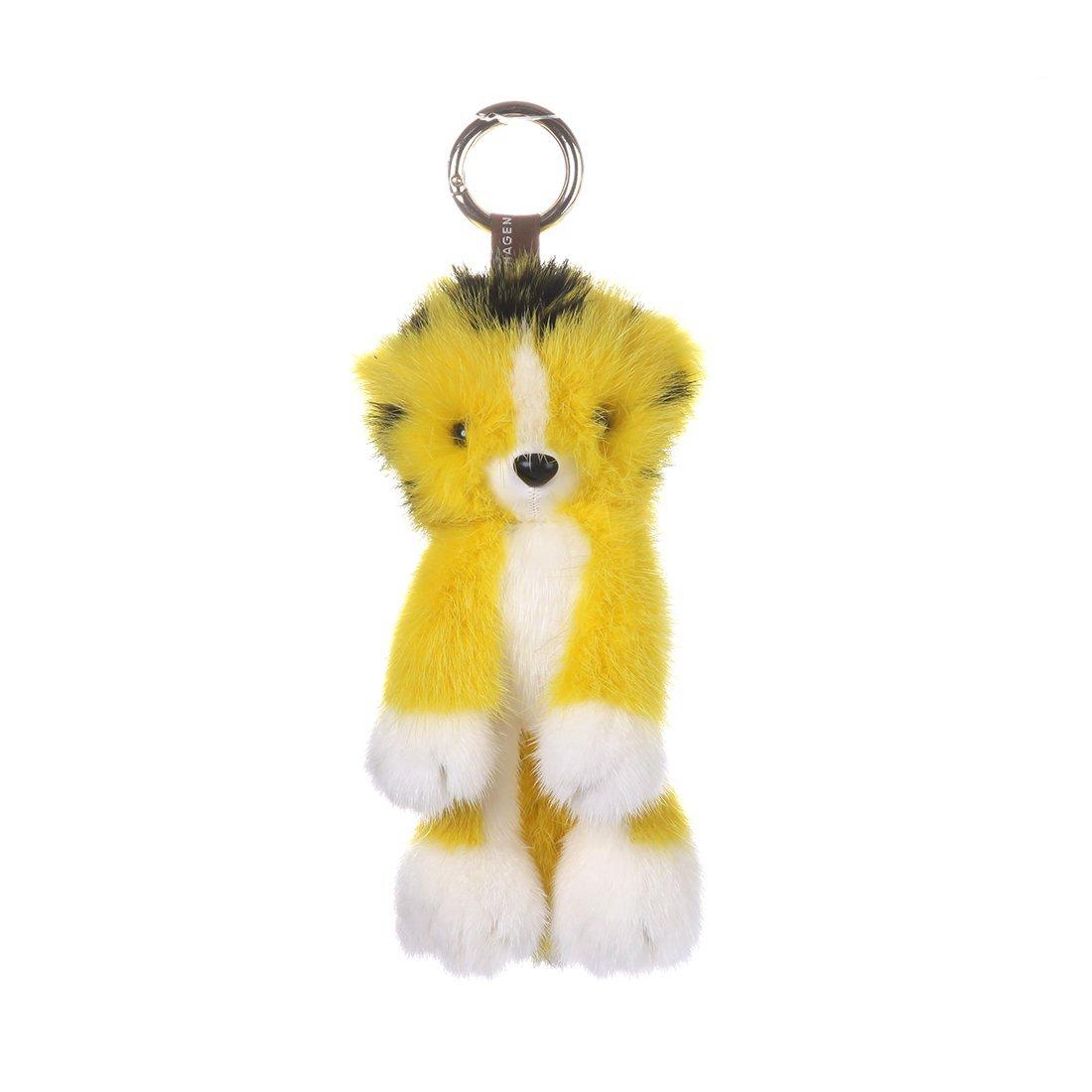 URSFUR Mink Stuffed Tiger Doll Fur Keychain Bag Charm Pendant Monster Toy Phone Tassel Key Chain Hook Accessory