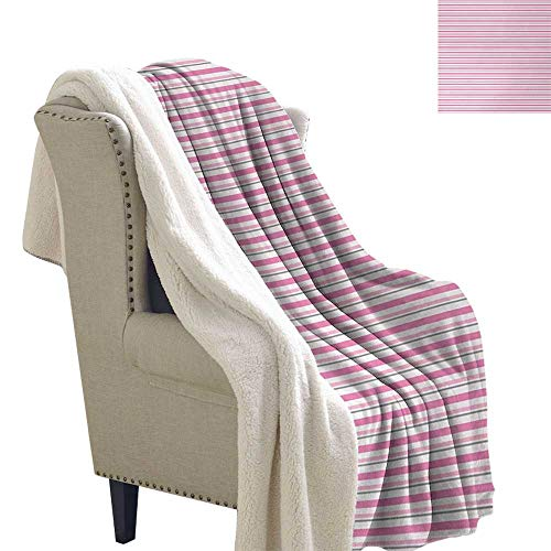 Jinguizi Geometric Light Thermal Blanket Pink Toned and Grey Lines on White Backdrop Striped Pattern Modern Design Plush Throw Blanket 60x78 Inch White Pink Grey ()
