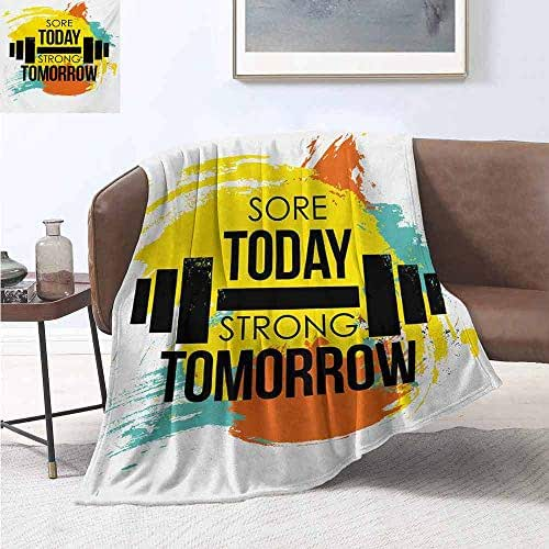 smllmoonDecor Fitness Warm Microfiber All Season Blanket Sore Today Strong Tomorrow Gym Quote Typography Colorful Energetic Brushstrokes Lightweight Blanket Extra Big 80