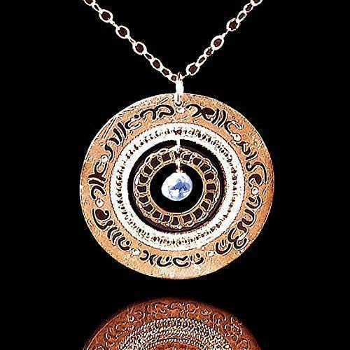 Rose Gold Necklace with Blue Topaz, Inspirational Jewelry, Shalom Necklace Hebrew Blessings Jewelry, Blue Topaz Jewelry, Blessings Necklace, Hebrew Jewelry for Women