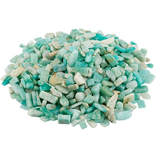 SUNYIK Amazonite Tumbled Chips Stone Crushed Crystal Quartz Pieces Irregular Shaped Stones 1pound(about 460 gram)