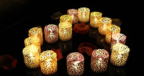 Votive Wraps - Jar-nan 24 PCS LED Candles 0%Profit Promotion by Manufacturer,Flameless Tea Lights Warm White Decorative Flickering LED Tealight Candles With 12 Bonus Paper Bags-For Decoration