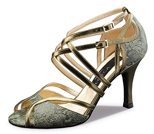 Nueva Epoca-Tango/Salsa Femme Chaussures de Danse Penelope-Cuir Olive/cuivre-8cm