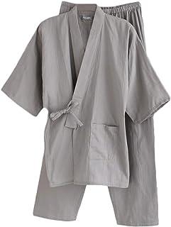 Men's Japanese Style Robes Loose Pure Kimono Pajamas Suit Bathrobe Dressing Gown