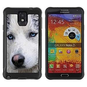 LASTONE PHONE CASE / Suave Silicona Caso Carcasa de Caucho Funda para Samsung Note 3 / Light Blue Eyes Muzzle Husky Dog Wet