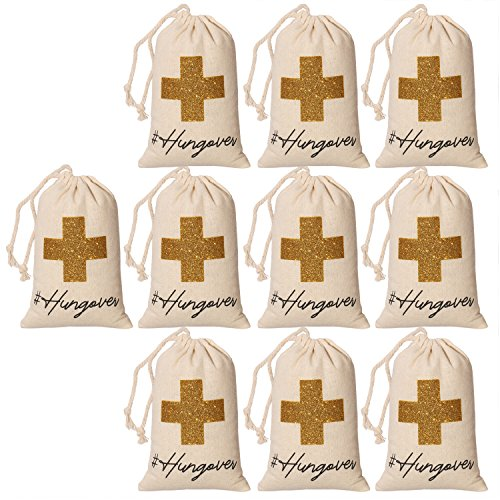 10pcs White Wedding Party Favor Bags 4x6 inch Gold Glitter Cross Bridesmaid Gift Bags for Bridal Shower Bachelorette Hangover Kit Bags Recovery Kit Bags Cotton Muslin Drawstring ()