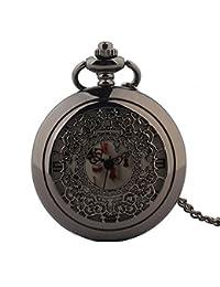 Unisex Pocket Watch Creative Musical Instrument Carved Vintage Hollow Quartz Pocket Chain Boys Girls