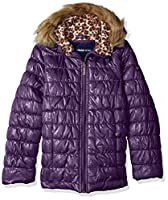Limited Too Girls' Little Quilted Iridescent Puffer, Petunia, 6X