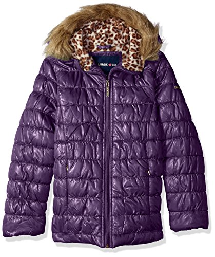 Purple Polyester Winter Coat - Limited Too Big Girls' Quilted Iridescent Puffer, Petunia, 10/12