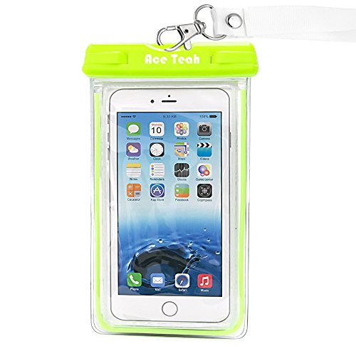 Waterproof Case, Ace Teah Clear Universal Waterproof Case, Dry Bag, Pouch, Transparent Snowproof Dirtproof Protective Cover for iPhone 6S 6 Plus, SE, Samsung Galaxy S7 S6 edge, Note 5 4 3 2 - Green (Note 4 Edge Waterproof Case compare prices)