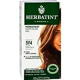 Herbatint Permanent Herbal Haircolour Gel 5N Light Chestnut - 100 Percent Grey Cover - No Ammonia - 135 ml (Pack of 4)