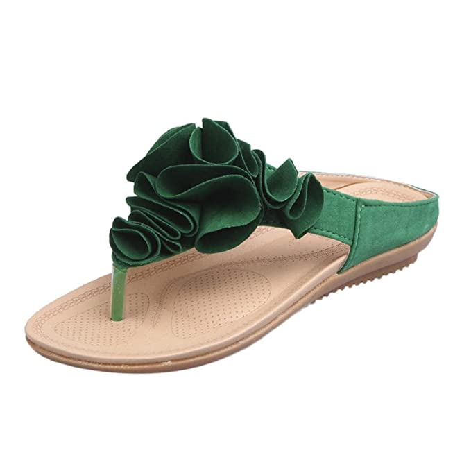 Damen Strand T-Spange Flache Flip Flops mit Blumen Mode Freizeit Leder Slipper Schuhe Frauen Elegant Sommer Outdoor...