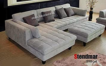 3pc Contemporary Grey Microfiber Fabric Sectional Sofa Chaise Ottoman S168LG