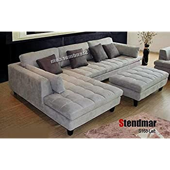 Amazon.com: 3pc Contemporary Grey Microfiber Sectional Sofa Chaise ...