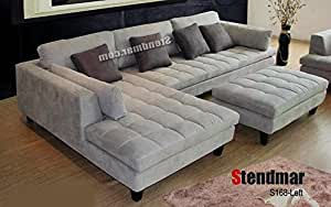 3pc contemporary grey microfiber sectional for Amazon sectional sofa with chaise