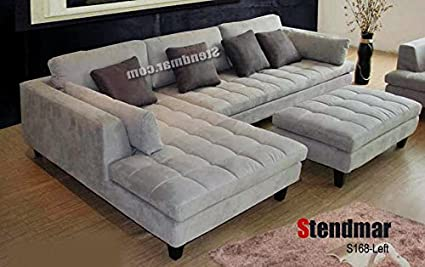 Enjoyable 3Pc Contemporary Grey Microfiber Sectional Sofa Chaise Ottoman S168Lg Alphanode Cool Chair Designs And Ideas Alphanodeonline