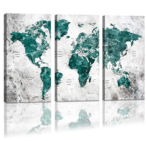 (World Map Wall Decal Watercolor Abstract Map of the World Canvas Wall Art Large Framed Office Art Painting for Bedroom Contemporary Wall Decoration for Living Room 3 piece Green Artwork for Walls Set)