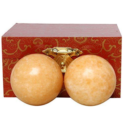 Orange Marble Baoding Chinese Health Stress Exercise Balls In Natural Stone Craft Collection BS027